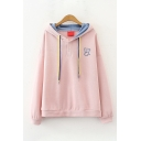 Preppy Girls Long Sleeve Drawstring Bear Embroidery Button Detail Contrasted Relaxed Fit Hoodie