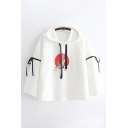 Womens Harajuku Bell Sleeve Drawstring Crane Patterned Bow Tie Loose Fit Hoodie