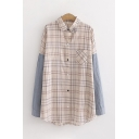 Simple Womens Long Sleeve Lapel Neck Button Down Colorblock Checker Printed Oversize Long Shirt
