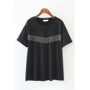 Trendy Womens Short Sleeve Round Neck Fringe Decoration Loose Fit Tee