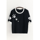 Pretty Girls Short Sleeve Round Neck Paw Print Chinese Letter Graphic Contrast Piped Relaxed Fit T Shirt