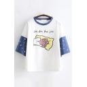 Lovely Preppy Girls Short Sleeve Round Neck Cartoon Pig Pentagram Letter Graphic Colorblock Relaxed Tee