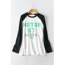Classic Girls Long Sleeve Crew Neck Letter MOTOR 67 Printed Colorblocked Relaxed Fit T Shirt