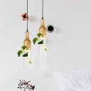 Art Plant Deco Dining Room Pendant Light Fixture Industrial Clear Glass 1 Head Wood Ceiling Lamp
