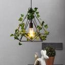 Vintage Diamond Plant Suspension Lamp 1 Head Metal LED Pendant Light in Black for Restaurant, 10