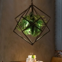 Black Geometric Plant Hanging Lamp Antique Metal 1 Bulb Restaurant LED Suspension Pendant, 18