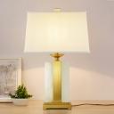 1 Bulb Bedroom Task Lighting Modern Gold Small Desk Lamp with Pagoda Fabric Shade