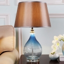 Modern Conical Task Light Fabric 1 Head Small Desk Lamp in Dark Coffee with Textured Glass Base