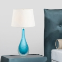 1 Bulb Living Room Task Lamp Modern Blue Desk Light with Tapered Drum Fabric Shade