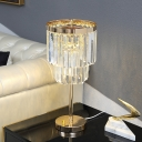 Cylinder Task Light Modern Beveled Crystal LED Gold Reading Lamp with Metal Base