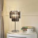 Modernism Cylindrical Desk Light Smoke Grey Crystal 2 Bulbs Living Room Nightstand Lamp