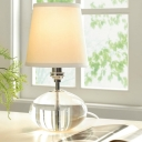 Fabric Conical Desk Lamp Modern 1 Bulb White Table Light with Oval Clear Crystal Base