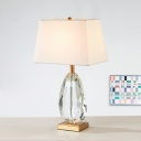 Beige Droplet Desk Lamp Modern 1 Head Beveled Crystal Table Light with Fabric Shade