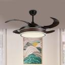 Acrylic Coffee Semi Flush Lighting Drum Modernism 42