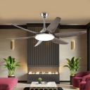 Circle Living Room Semi Flushmount Contemporary Acrylic 6 Grey Blades LED Nickel Hanging Fan Light, 55.5