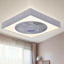 LED Linear/Trellis Ceiling Fan Lamp Contemporary White Metal Semi Flush Mount Lighting Fixture for Living Room, 23
