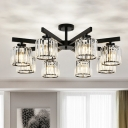Minimalist 8-Head Flush Ceiling Light with Crystal Shade Black Cylinder Semi Flush Mount for Living Room