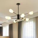 Iron Sputnik Chandelier Pendant Lamp Minimalist 8-Bulb Black Ceiling Hang Fixture with Floral White Glass Shade