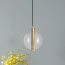 Metal Slim Tube Ceiling Light Contemporary 1 Bulb LED Suspended Pendant Lamp in Gold with Globe Clear Glass Shade