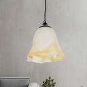 Flower Bedroom Suspension Light White Frosted Glass 1 Head Modernist Pendant Ceiling Lamp