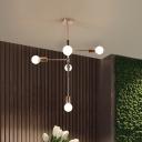 Linear Dining Room Pendant Lighting Metallic 5 Bulbs Modernism Chandelier Lamp Fixture in Brass