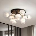 Modernism Ball Semi Flush Lighting Clear and White Glass Shade 12-Light Bedroom Flush Ceiling Lamp
