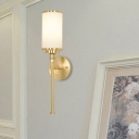 1 Light Living Room Sconce Minimalist Gold Finish Wall Lighting Fixture with Cylinder White Glass Shade