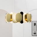 Metallic Oval Panel Hanging Lighting Post Modern LED Brass Suspended Pendant Lamp in White/Warm Light