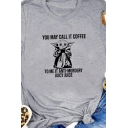 Casual Girls Roll-Up Sleeves Crew Neck Letter YOU MAY CALL IT COFFEE Devil Graphic Relaxed T Shirt