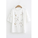 Korean Womens Short Sleeve Round Neck Embroidered Relaxed Fit T Shirt