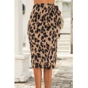 Pretty Girls Bow Tie Waist Leopard Printed Long Straight Wrap Skirt in Brown