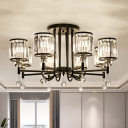 Traditional Black Semi Flush Ceiling Light Drum Shade 3/6/8 Heads Metal Crystal Ceiling Lamp for Bedroom