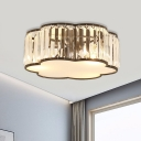 Cloud Bedroom Flush Lamp Crystal 3/4/5-Light Modernist Ceiling Mounted Fixture in Black