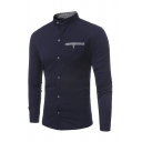 Casual Mens Long Sleeve Stand Collar Button Down Plaid Printed Pocket Panel Slim Fit Shirt
