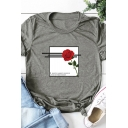 Lovely Girls Roll-Up Sleeve Round Neck Rose Graphic Relaxed Fit T Shirt