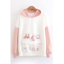 Lovely Girls Long Sleeve Drawstring Cat Patterned Flap Pocket Patched Color Block Oversize Hoodie