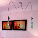 Black 2/3/6 Heads Swag Pendant Lamp Industrial Blue Glass Bottle Multi Light Chandelier for Restaurant