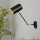1 Bulb Iron Sconce Lamp Fixture Industrial Black Cylinder Restaurant Wall Mounted Light with Angled Arm, 6