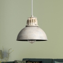 Iron Dome Hanging Light Fixture Countryside 1-Bulb Restaurant Drop Pendant Lamp in Matte White