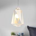 Hollow-Out Diamond Hanging Light Kit Modern Metallic 1 Head White Pendant Lamp Fixture