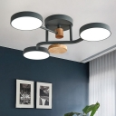 Circle Bedroom Semi Flush Lighting Metal LED Modern Flush Ceiling Lamp in Grey/White/Green with Round Wood Deco