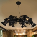 5-Head Telescopic Chandelier Lighting Vintage Camera Metal Ceiling Spotlight Fixture in Black