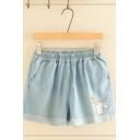Simple Summer Elastic Waist Rabbit Embroidered Rolled Cuffs Relaxed Denim Shorts