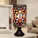 Straight Sided Shade Nightstand Lamp Art Deco Metal 1 Bulb Task Lighting in Black