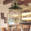 Metal Bronze Chandelier Lamp Flat 3 Heads Art Deco Hanging Ceiling Light with Crystal Teardrop