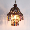 Carved Pendant Lighting Traditional Metal 1 Bulb Ceiling Suspension Lamp in Copper