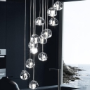 Clear Glass Geometric Cluster Pendant Simple 14 Heads Silver LED Suspension Lighting