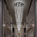 Teardrop Cluster Pendant Light Minimalist Beveled Crystal 9 Heads Restaurant LED Hanging Lamp in Silver