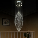 Silver Curvy Multi Light Pendant Modern 12 Lights Hand-Cut Crystal LED Suspension Lamp for Dining Room