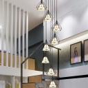 Diamond Stair Ceiling Lamp Metal 8 Bulbs Contemporary Multi Pendant Light Fixture in Black